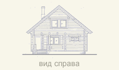 вид дома из сруба спереди