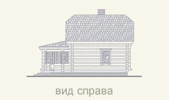 вид деревянного дома справа