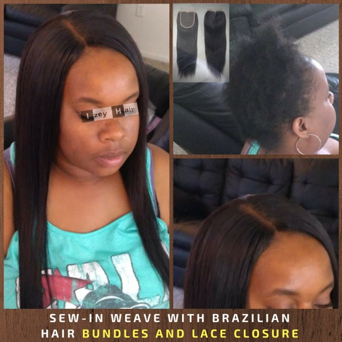 sew-in weave with brazilian hair bundles and lace closure