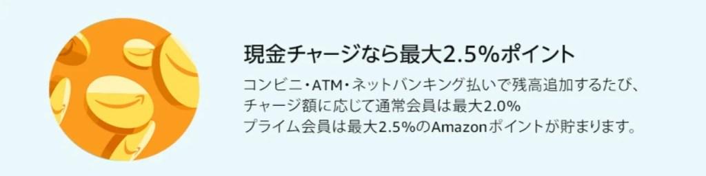 Amazonギフト券 現金チャージ