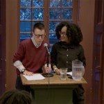 Davy Knittle and Amber Rose Johnson introduce poet Tonya Foster at the Kelly Writers House
