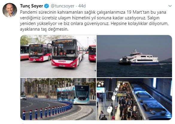 İzmir'de sağlık çalışanlarına ücretsiz ulaşım yıl sonuna kadar devam edecek