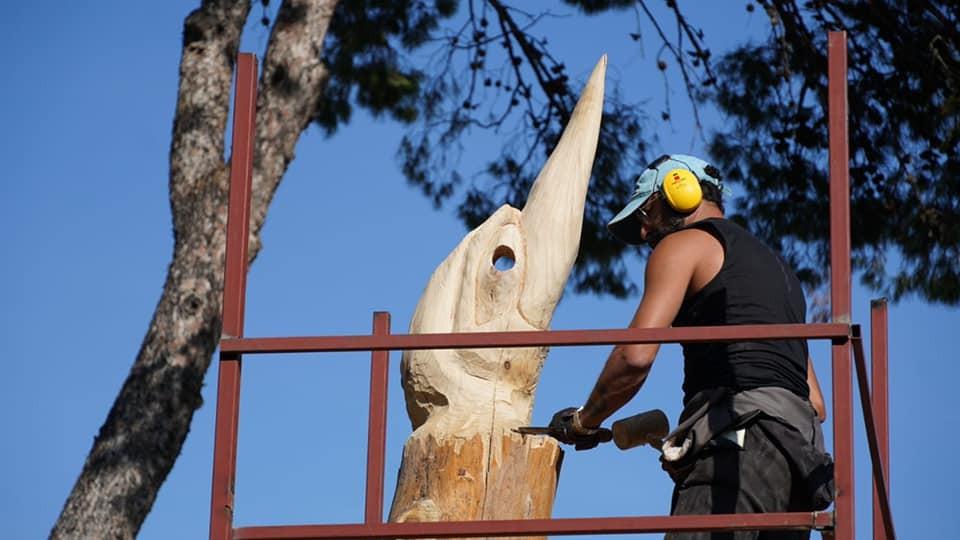 Çeşme'de ömrünü tamamlamış ağaçlar sanat eserine dönüşüyor