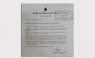 Facsimil del proyecto presentado por el diputado Juan Carlos Giordano