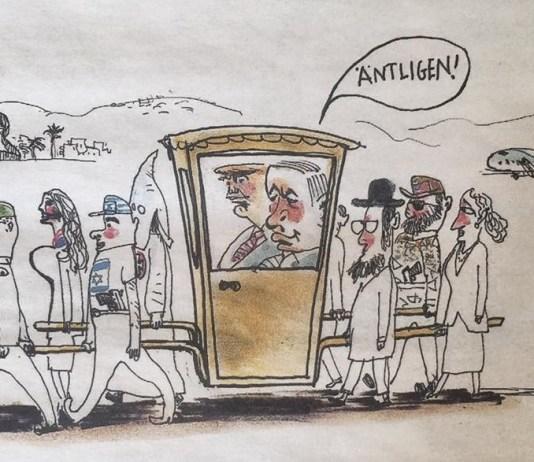 A Dagens Nyheter svéd napilap antiszemita karikatúrája fotó: stoppabojkott.se