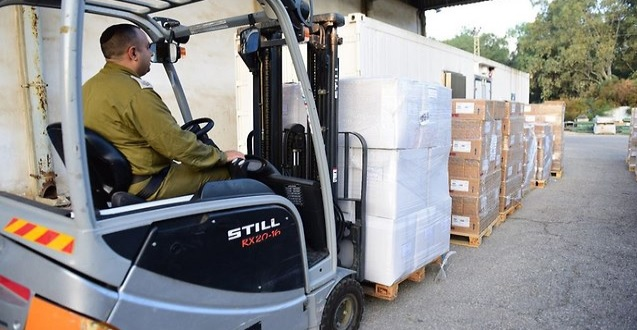 Izraeli segélyszállítmány a Gázai övezetbe - fotó: IDF