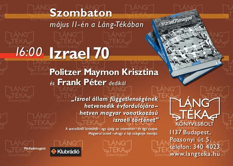 #izrael70magy könyvbemutató a Láng Téka-ban