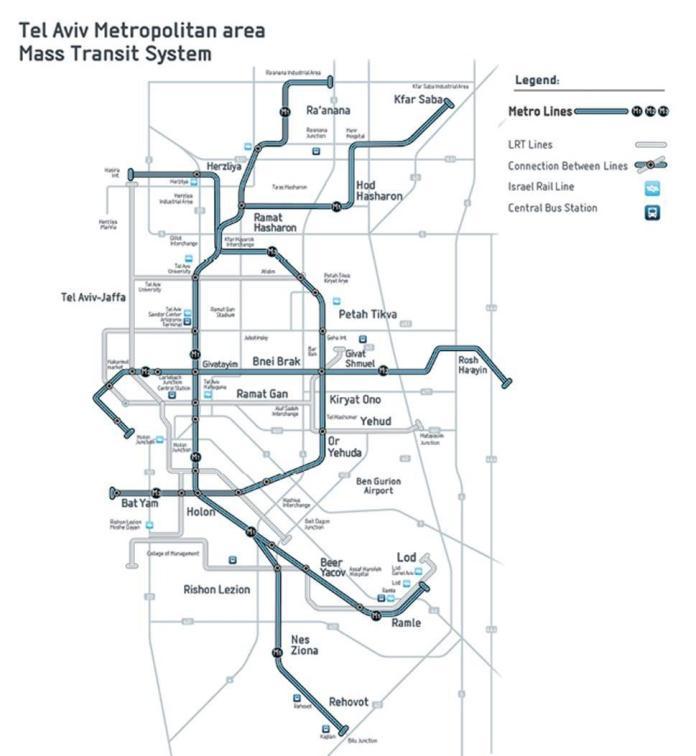 Tel-Aviv és Gus Dan tervezett metro- és villamos térképe