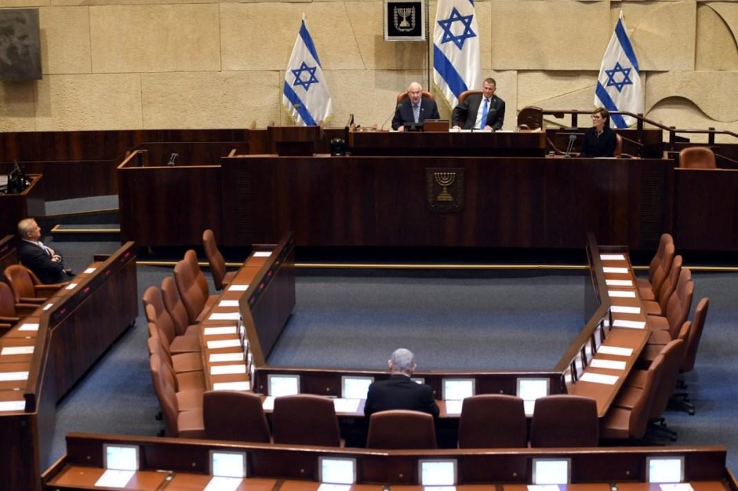 Netanjahu és Ganz a Kneszet eskütételi ünnepségén - fotó: Haim Zach / GPO
