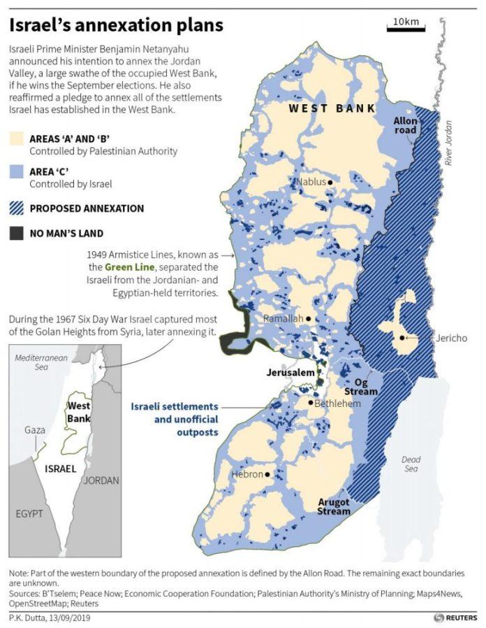 Térkép, amely Ciszjordániában a Jordán-völgy régióját mutatja, amelyet Benjamin Netanjahu miniszterelnök bejelentése szerint az izraeli kormány annektálni fog