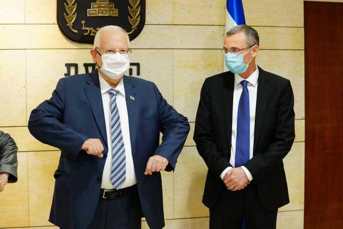 Reuven Rivlin elnök és Jariv Levin házelnök a kneszetben, 2020. október 12. - fotó: Yaniv Nadav / Kneszet szóvivő