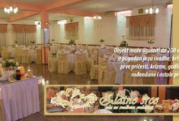 Sala za vjenčanja i svadbe Zlatno srce, organizacija vjenčanja i svadbene večere, rezervacija sale, nezaboravno vjenčanje u Novakima Bistranskim kod Zaprešića u blizini Zagreba, pogodno i za krštenja, prve pričesti, krizme, različite godišnjice, rođendane te ostale prigode, pristupačne cijene bogatih menija za vjenčanja
