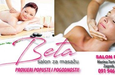 Salon za masažu Beta, kvalitetna masaža na Malešnici, Aromaterapija, Aromatska ili aroma masaža - relax masaža hladno prešanim certificiranim eteričnim uljima, Klasična masaža - pomoć kod problema s kralježnicom, smanjivanje boli, poboljšanje cirkulacije, metabolizma, detoksikacije i antistrenog učinka, Efikasna anticelulitna masaža za rješavanje problema s celulitom, Masaža leđa i cijelog tijela za žene i muškarce, Akcijske cijene masaže u Zagrebu