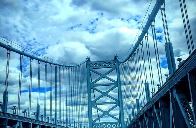 Ben Franklin Bridge on the way to New Jersey
