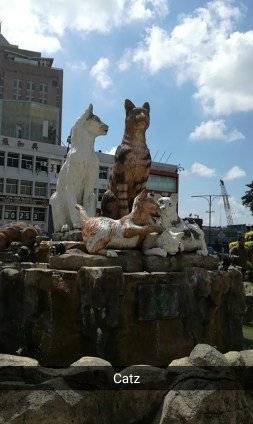 Cat statue - kuching means cat in Malay!