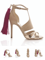Alexander White Iman in gold nude and raspberry