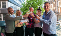 Picture captions: Top: From l-r: Nick Garner, General Manager of Restaurant Bar & Grill, Manchester, Charlotte Solomon, Head of Club Individual, VIP Rome trip winner John Bagshaw, Imogen Arnup, Event Sales Manager at Restaurant Bar & Grill Manchester and David Bagshaw, son of winner John Bagshaw.