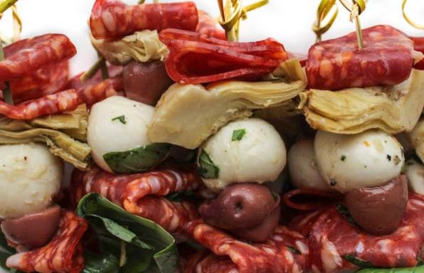 Antipasto Skewers with Marinated Mozzarella Balls