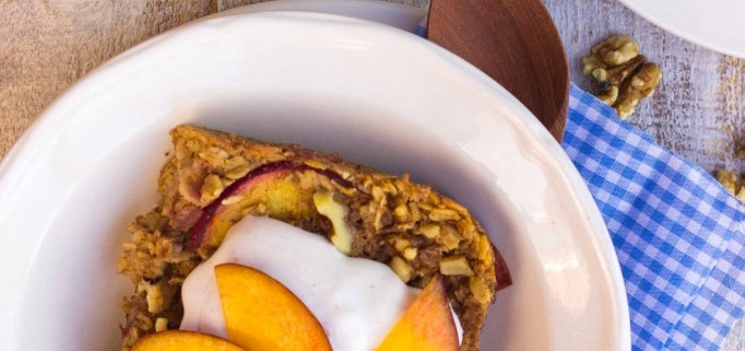 Ginger Peach Oatmeal Bake with Whipped Coconut Cream