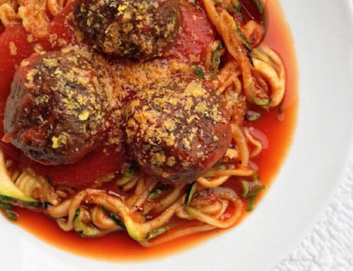 Nomeatballs with Zoodles and Tomato Sauce