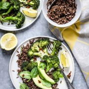 Roasted Broccoli And Red Rice Salad With Avocado