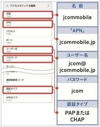 J:COMモバイルアンドロイドAPN設定5