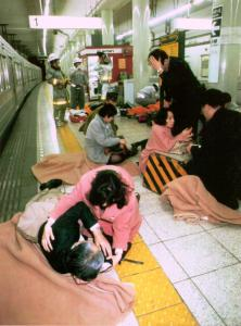 Photo from the morning of the sarin attacks on the Tokyo subway.
