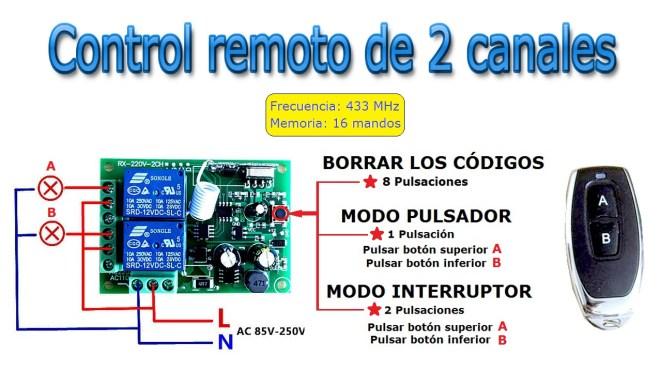Control remoto de 2 canales