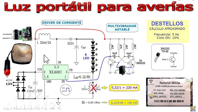Esquema: Luz portátil LED