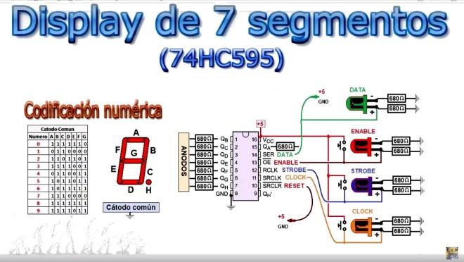 Display de 7 segmentos con 74HC595