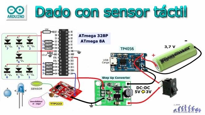 Dado con sensor táctil