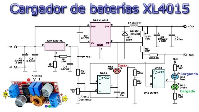 Módulo cargador de baterías, con XL4015