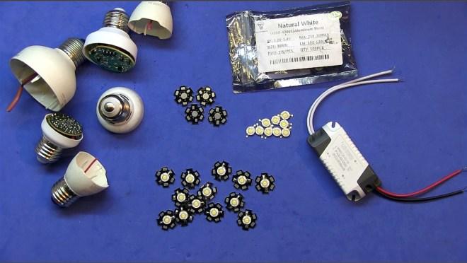 Componentes de al bombilla LED