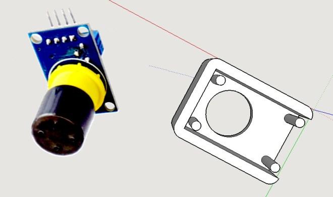 Carcasa 3D, para el sensor de gas MQ