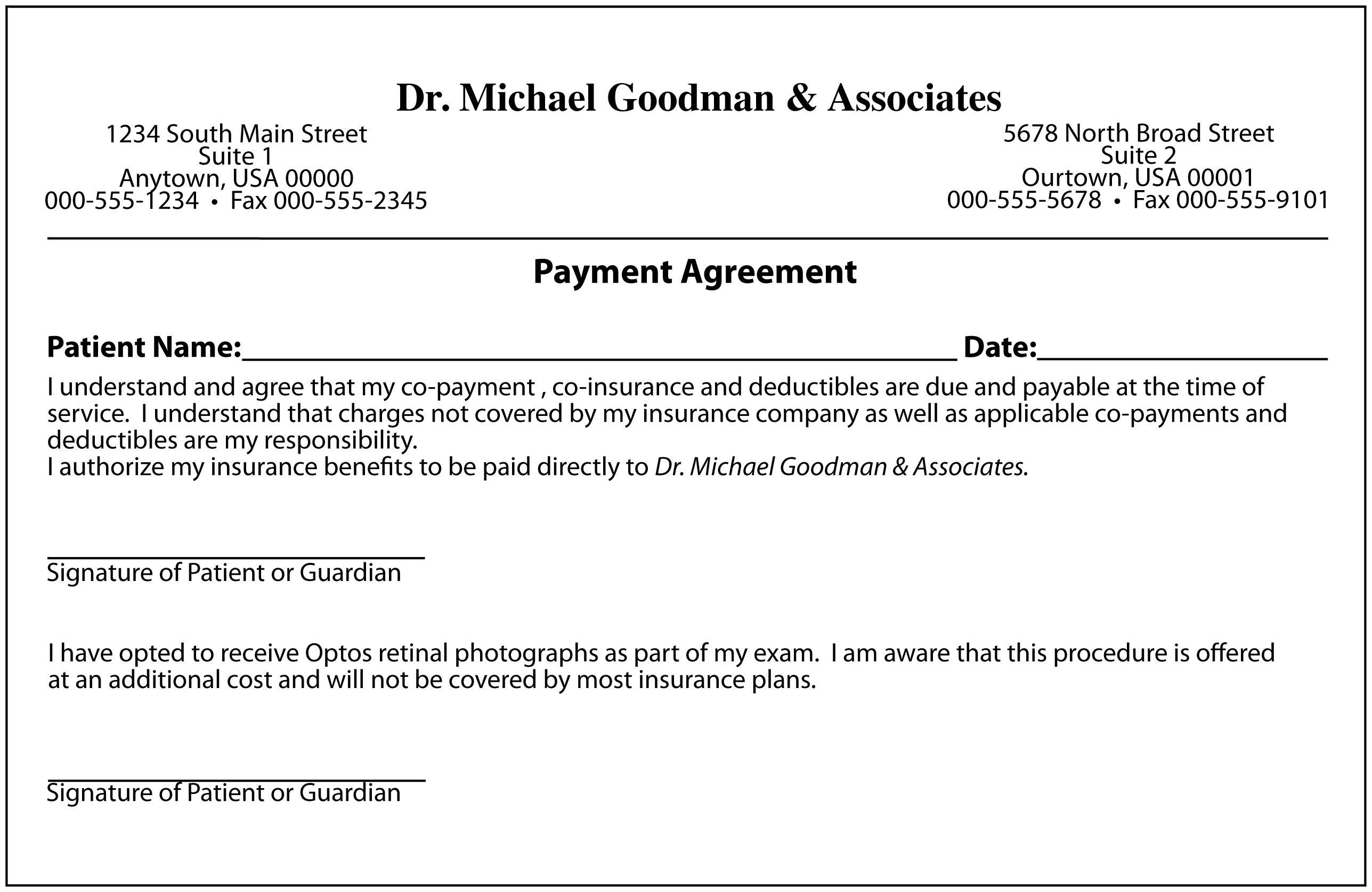 Payment Contract Template. medical plan. social media consulting ...