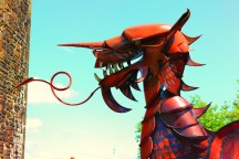The red Dragon sits in the Castle so it can be seen from the main road. The black one which they stated was on display all through the summer months was not seen, we were told it was out on loan to another Castle.