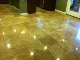 After Travertine Tile Polishing by J2 Cleaning Las Vegas for an awesome showroom polished floor.