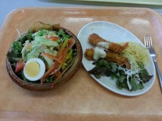 School food! Salad and tempura fried shrimps.