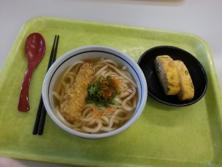 Also school food! Tempura fried shrimp and udon noodles. And eggs.