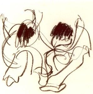 Dancing 2 - houtskool, 25 x 25 cm