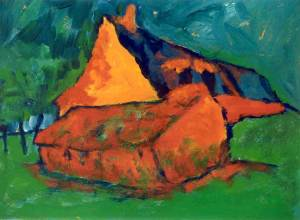 Herfsthuis, acryl 50 x 37 cm