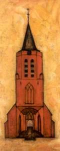 Johanneskerk Laren, acryl 100 x 45 cm