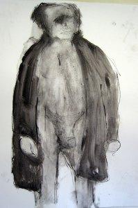 L'homme 1 - Oostindische inkt, 100 x 70 cm
