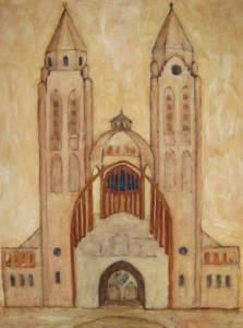Sint Jans basiliek Laren, acryl 100 x 70 cm