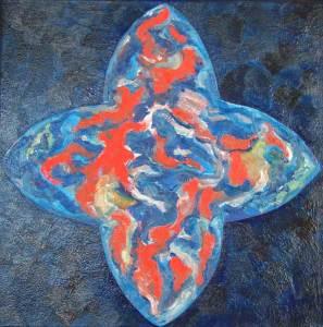 Vitrail gotiek blauw, olieverf 60 x 60 cm