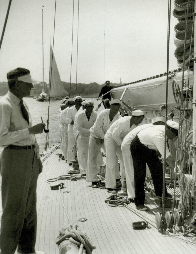 "A team at work on board J-boat ""Ranger""."
