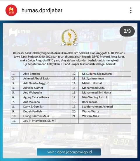 daftar 21 nama calon anggota KPDI Jabar 2020-2023