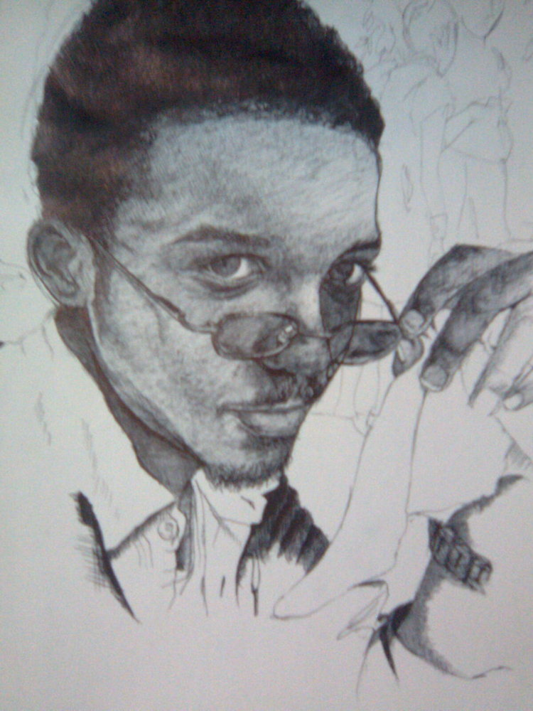 self portrait, ballpoint pen drawing,
