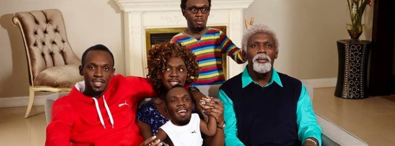 Family made up of Usain Bolt, Bolt mom, Bolt baby, Bolt oldman