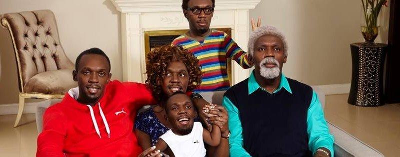 Family made up of Usain Bolt, Bolt mom, Bolt baby, Bolt oldman